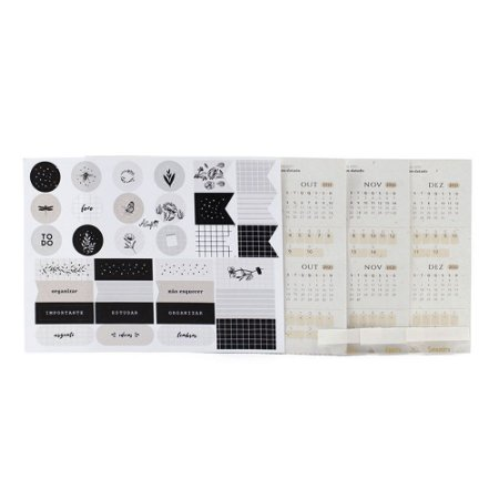 Adesivos Para Planner Não Datado A.Craft 4º trimestre 2021 com Cartela de Adesivos Diversos - Coleção Kraft - Tamanho Padrão e Mini