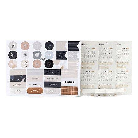 Adesivos Para Planner Não Datado A.Craft 2º trimestre 2021 com Cartela de Adesivos Diversos - Coleção Kraft - Tamanho Padrão e Mini
