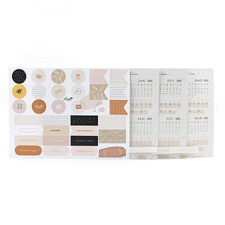 Adesivos Para Planner Não Datado A.Craft 1º trimestre 2021 com Cartela de Adesivos Diversos - Coleção Kraft - Tamanho Padrão e Mini