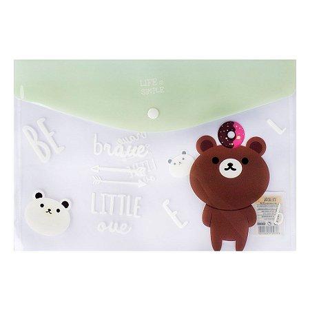 Pasta Envelope A4 Fecho Botão Urso Verde