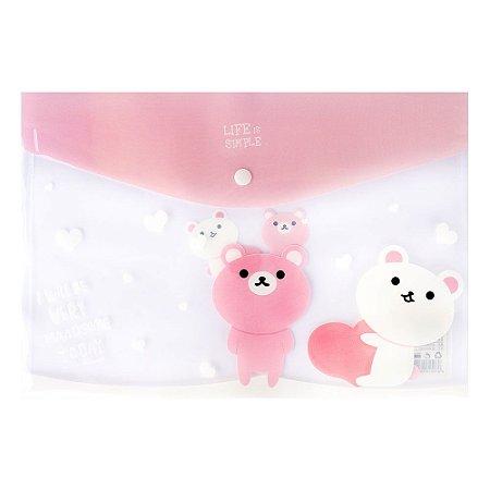 Pasta Envelope A4 Fecho Botão Urso Rosa