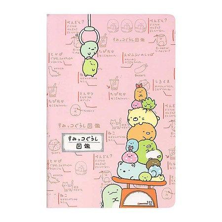 Caderneta Pautada Média Brochura Ilustrada Sumikko Gurashi Rosa