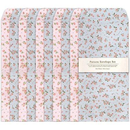 Kit Envelopes Pattern Floral Rosa Floral Azul