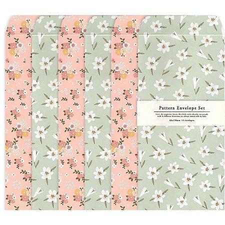 Kit Envelopes Pattern Floral Rosa Floral Verde