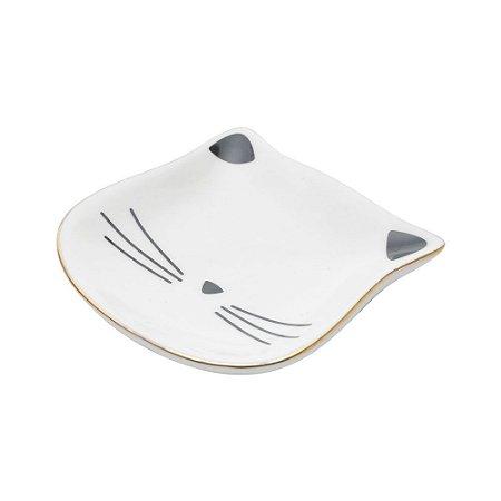 Porta Anéis de Cerâmica Gato Branco e Dourado Mini Prato 2