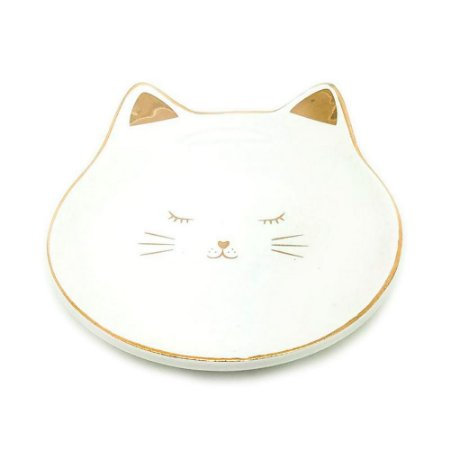 Porta Anéis de Cerâmica Gato Branco e Dourado Mini Prato 1