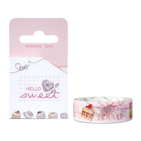 Fita Decorativa Washi Tape - Doces Hello Sweet Bolos Rosa