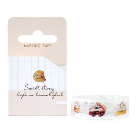 Fita Decorativa Washi Tape - Doces Sweet Story Choux Cream