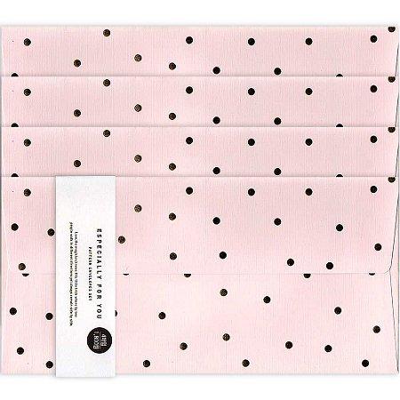 Kit Envelopes Un Hasard Bolinhas Rosa Claro