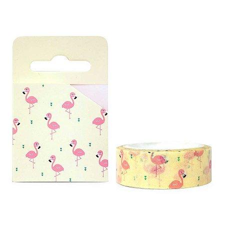 Fita Decorativa Washi Tape - Flamingo Amarelo