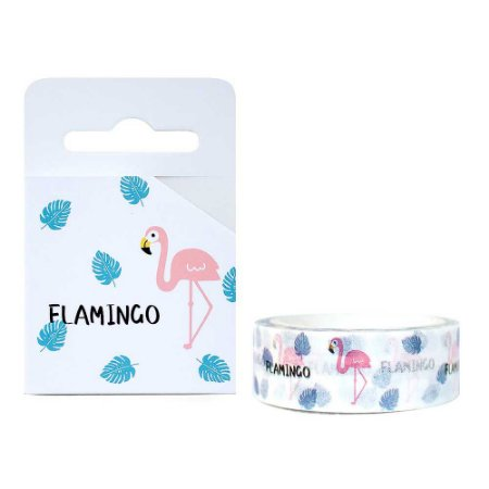 Fita Decorativa Washi Tape - Flamingo Branco