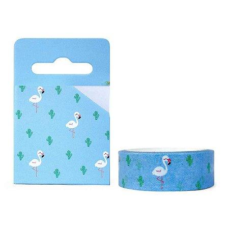 Fita Decorativa Washi Tape - Flamingo Azul