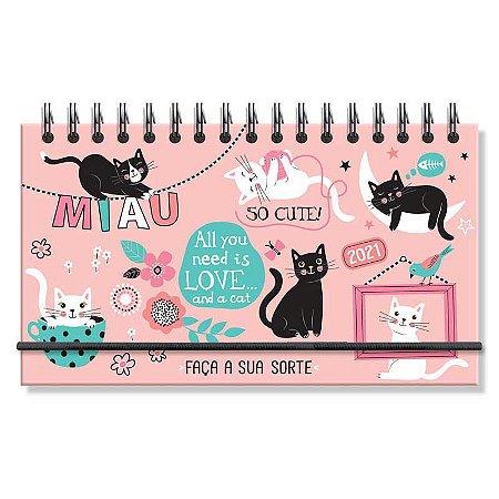 Mini Agenda Semanal 2021 Capa Dura Gatos Faça a Sua Sorte Rosa