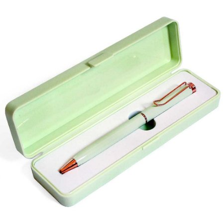 Caneta Esferográfica Azul Com Clip e Caixa Verde