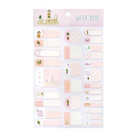 Adesivos Etiquetas de Identificação de Papel Com Proteção Plástica - Warm Home Rosa
