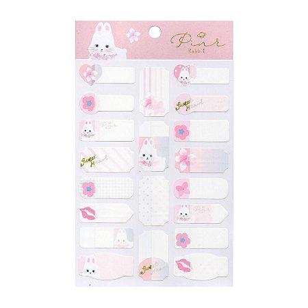 Adesivos Etiquetas de Identificação de Papel Com Proteção Plástica - Coelho Pink Rabbit Rosa