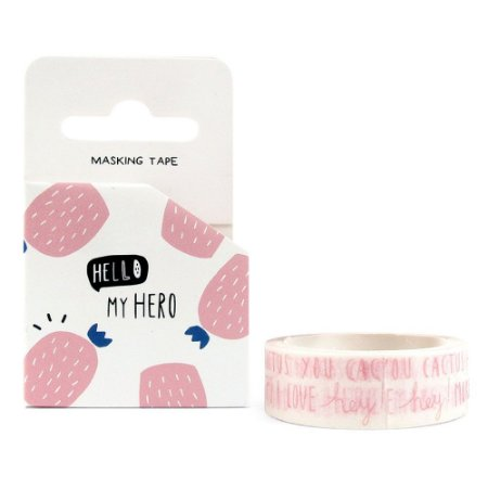 Fita Decorativa Washi Tape - Hello My Hero Cactos Escritos Branco e Rosa