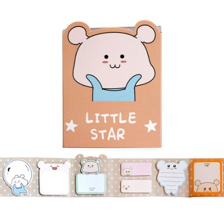 Cartela de Post-it 6 Partes 7 Blocos Little Star Et Laranja