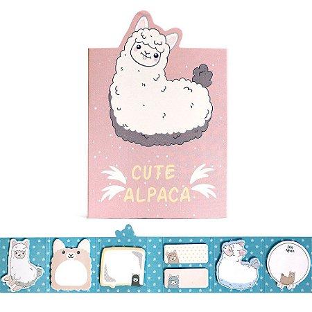 Cartela de Post-it 6 Partes 7 Blocos Cute Alpaca Rosa