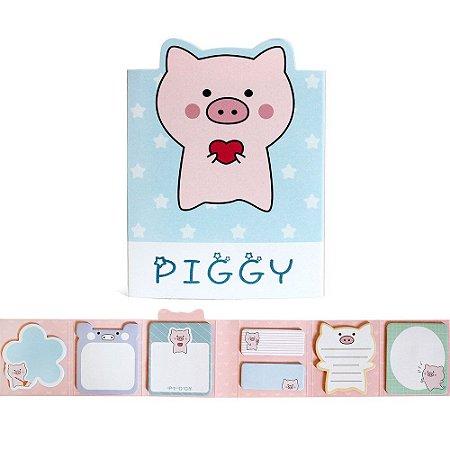 Cartela de Post-it 6 Partes 7 Blocos Piggy Porco Azul