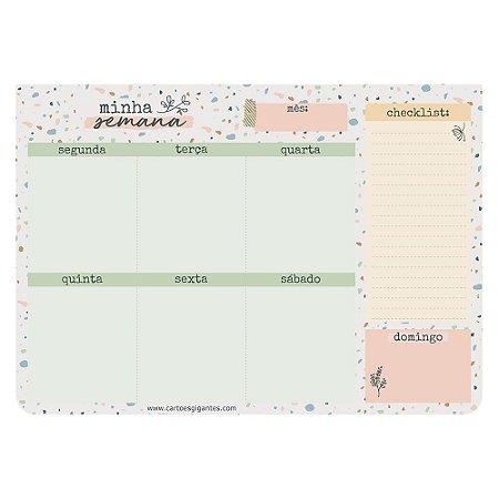 Planner de Mesa Semanal Bloco Week Minha Semana Terrazzo - Cartões Gigantes