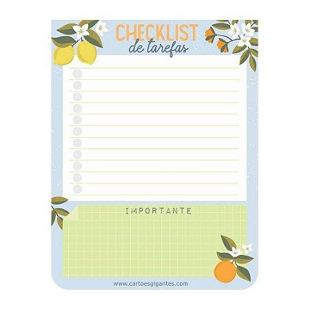 Bloco de Anotações Bloquinho do Dia Checklist de Tarefas Citrica Limão - Cartões Gigantes