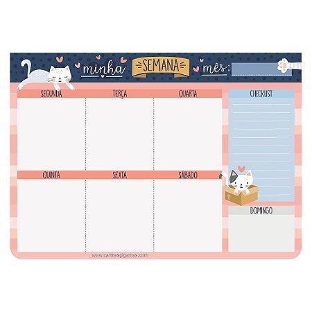 Planner de Mesa Semanal Bloco Week Minha Semana Cats Gatos - Cartões Gigantes