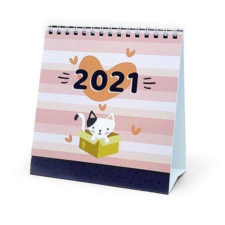 Calendário de Mesa Espiral 2021 Cats Gatos - Cartões Gigantes