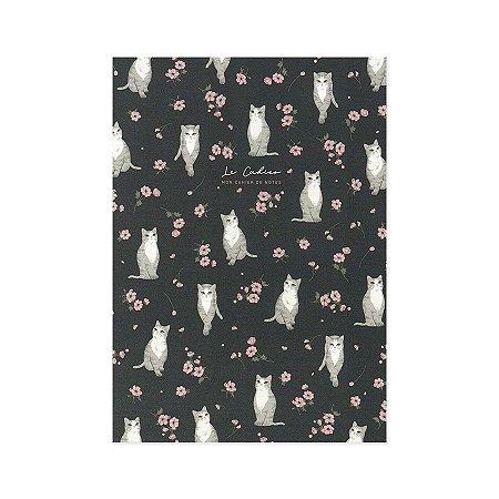 Caderno Brochura Le Cahier Gato Floral Azul M - Artbox