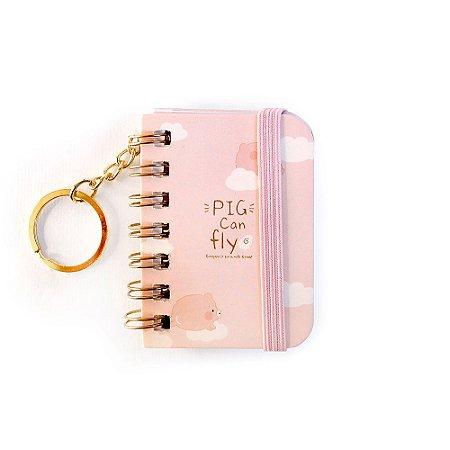 Chaveiro Mini Caderno Espiral Sem Pauta Porquinho Pig Can Fly Rosa - 2