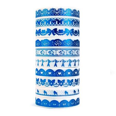 Kit de 10 Washi Tapes Finas Metálicas Foil - Azul