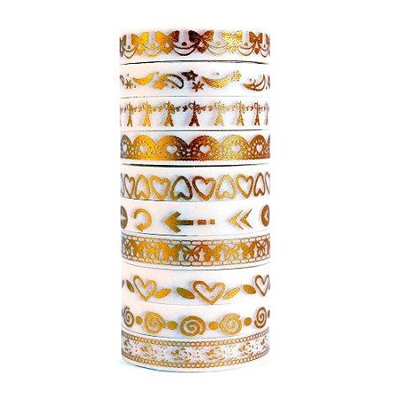 Kit de 10 Washi Tapes Finas Metálicas Foil - Dourado