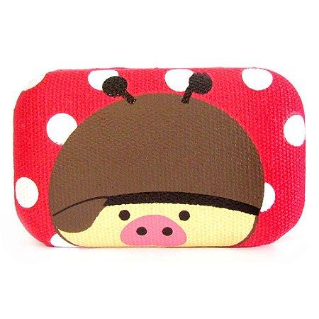 Kit Porta Lente de Contato Com Espelho Tecido + Pinça + Aplicador - Porco Vermelho
