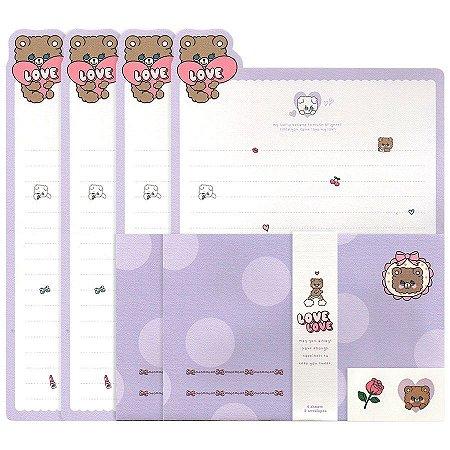 Papel de Carta Love Love Urso Roxo