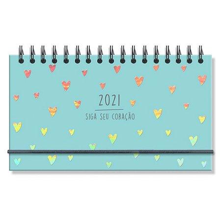 Mini Agenda Semanal 2021 Capa Dura Corações Holográficos Siga Seu Coração Azul - Fina Ideia