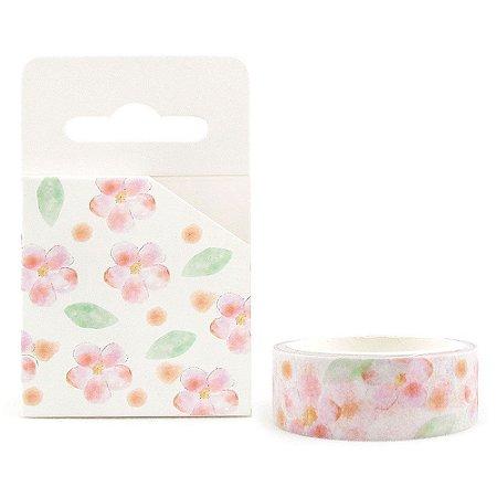 Fita Decorativa Washi Tape - Aquarela Floral Sakura Branco