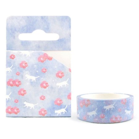 Fita Decorativa Washi Tape - Aquarela Floral Sakura Roxo