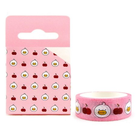 Fita Decorativa Washi Tape - Galapagos Friends Patinho Mali Cereja Rosa