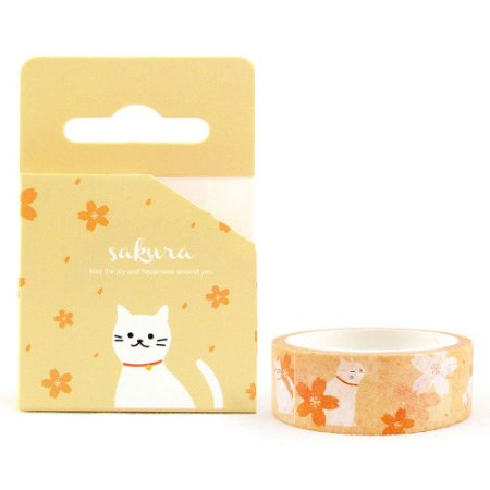 Fita Decorativa Washi Tape - Gatos e Sakura Amarelo