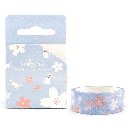 Fita Decorativa Washi Tape - Gatos e Sakura Roxo