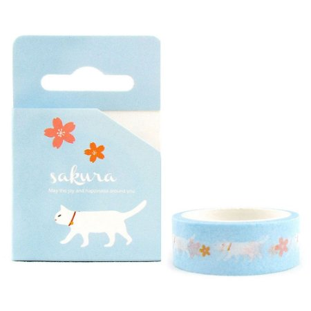 Fita Decorativa Washi Tape - Gatos e Sakura Azul
