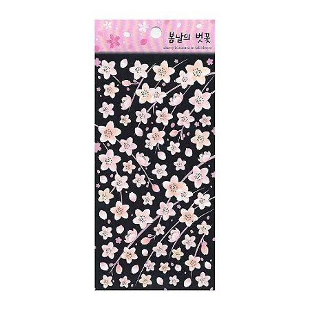 Adesivo Divertido de Papel - Flor Sakura Preto