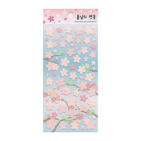 Adesivo Divertido de Papel - Flor Sakura Azul