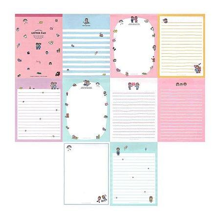 Bloco de Papel de Carta Character Letter Pad Casal Rosa - Artbox