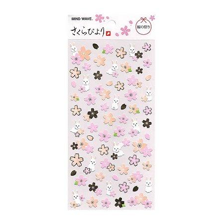 Adesivo Divertido Papel - Sakura Biyori Flores de Sakura Coelho Rosa Dourado