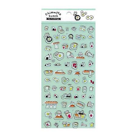 Adesivo Divertido Transparente - Chimatto Lunch Comidas e Animais Verde