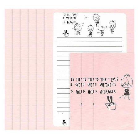 Papel de Carta Menina Morango Rosa