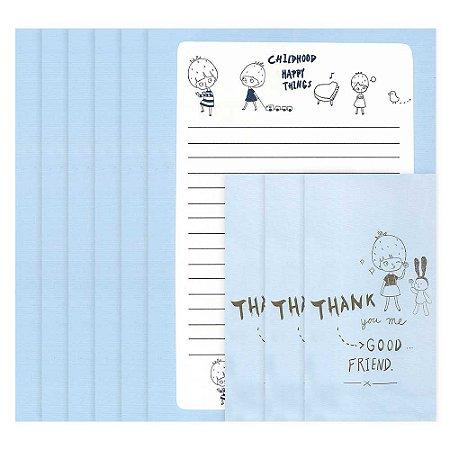 Papel de Carta Menina Morango Azul