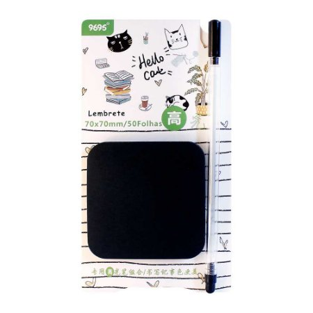 Kit de Post-it Preto e Caneta Gel Prata Hello Cat