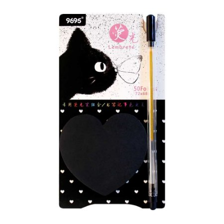 Kit de Post-it Preto e Caneta Gel Dourada Gato